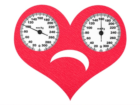 Frightened heart and high blood pressure Stock Photo