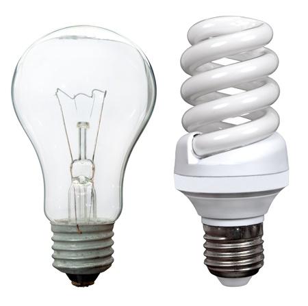 risparmio energetico: Energia incandescenza e fluorescenti lampadine a risparmio Archivio Fotografico