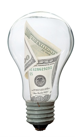 Light bulb with dollar Stock Photo