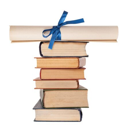 baccalaureate: Diploma with blue ribbon and books