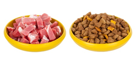 pet store: Natural meat dog food or dry food Stock Photo