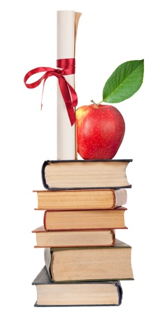 baccalaureate: Diploma with red ribbon,books and apple