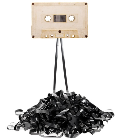 tape recorder: Audio tape cassette with subtracted out tape Stock Photo