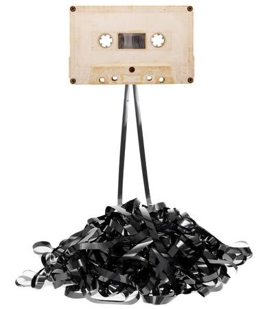 flauta dulce: Casete de cinta de audio con restado cinta Foto de archivo