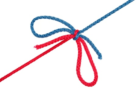 coherence: Knot of red and blue rope