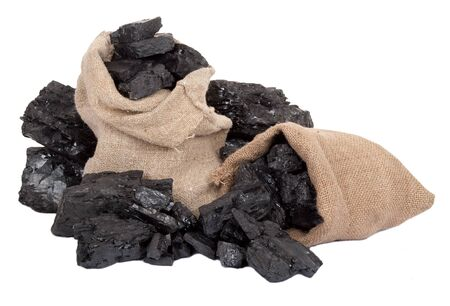 anthracite coal: Bag with scattered charcoal