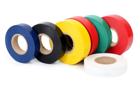 Multicolored insulating tapes roll photo