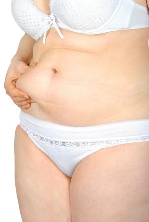 mujer gorda: Mujer gorda pellizcar la grasa abdominal