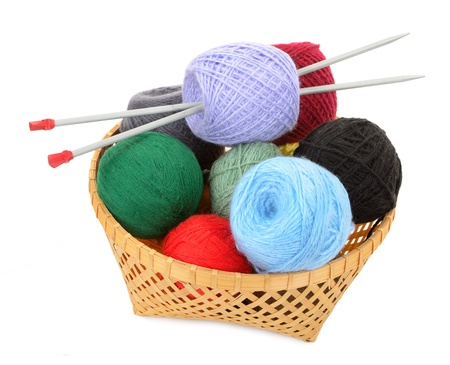 weave ball: Balls of yarn in a basket with knitting needles