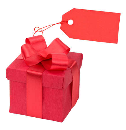 Red gift box with a price tag photo