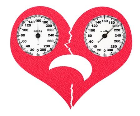 hipertension: Asustado corazón roto y la presión arterial alta Foto de archivo