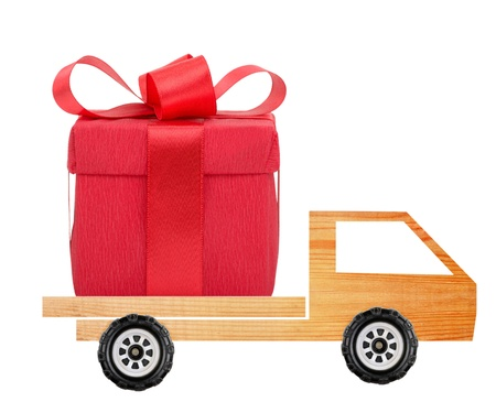 Car with a gift box photo