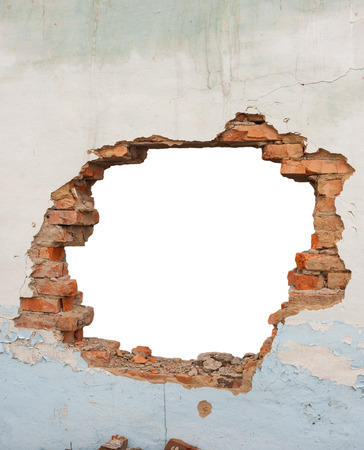 hole in wall: Hole brick wall Stock Photo
