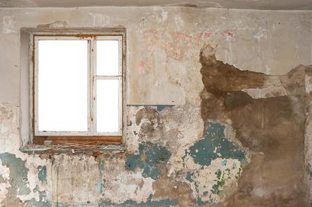 frame on wall: Empty wooden window frame wall Archivio Fotografico