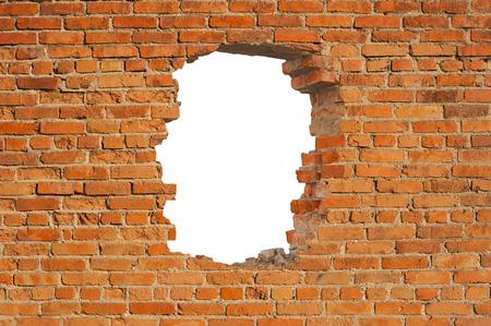 Wit gat in oude muur