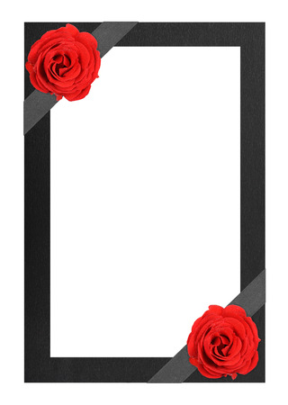 Funeral frame with red roses photo