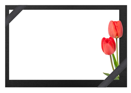 Funeral frame with tulips photo