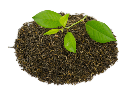 Green tea with leafs