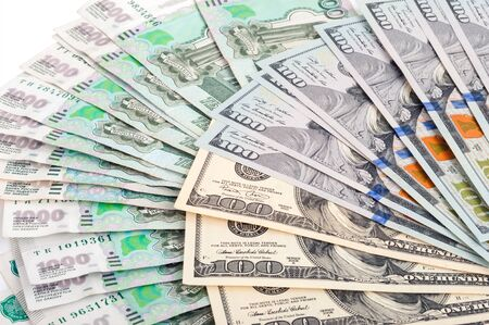 rubles: Russian rubles and US dollars Stock Photo