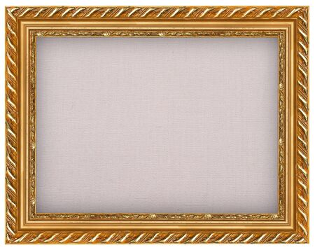 The antique gold frame with burlap photo