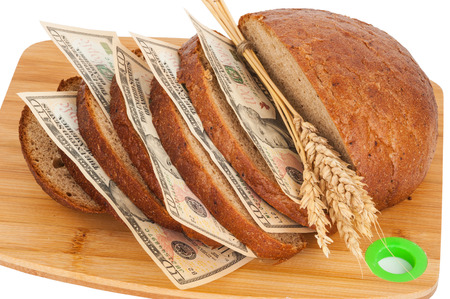 budget crisis: Slice bread with money