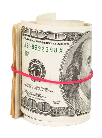rubberband: Hundred dollar bills rolled up with rubberband