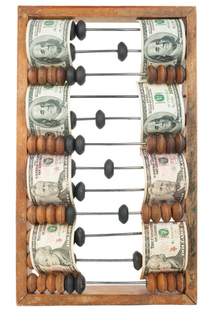 algebra calculator: Old wooden abacus with dollars