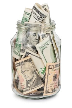 dollar: Molti di dollari in un barattolo di vetro Archivio Fotografico