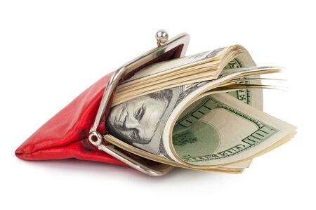 change purses: Red purse with the money