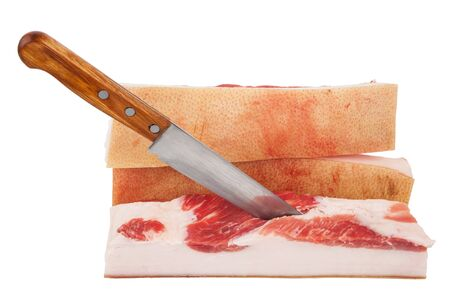 lard: Piece of lard with knife