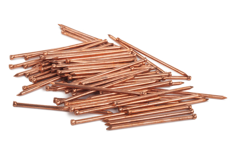 cobre: Clavos de cobre Foto de archivo