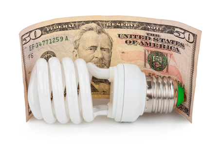 white light: Bulb and money Stock Photo