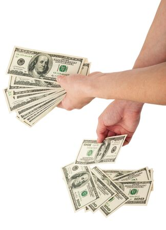 counting money: Hands counting money Stock Photo