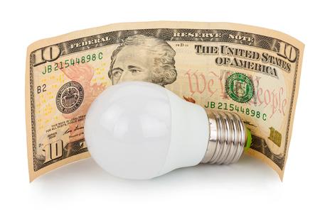 fluorescent lamp: LED light bulb and money Stock Photo