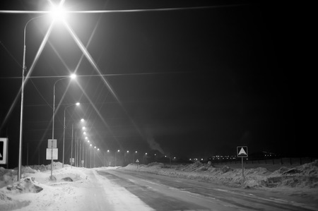 suburban: Street light in suburban area at night