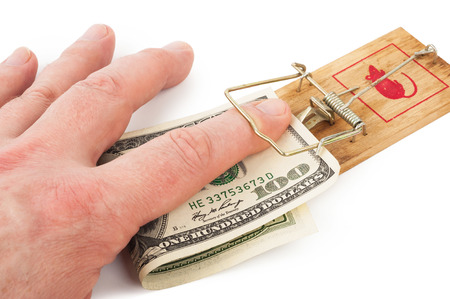mousetrap: Hand and mousetrap with money