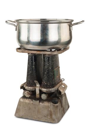 primus: Old kerosene primus with a pan Stock Photo