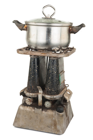 Old kerosene primus with a pan Stock Photo