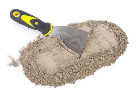 trowel: Gray cement powder with trowel
