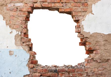 Hole brick wall Stock fotó