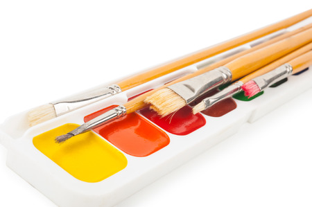 paints: Watercolor paints and brushes