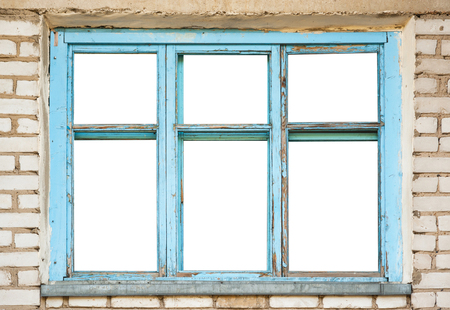 old windows: Old wooden windows frame on brick wall
