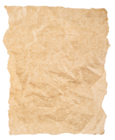 torn paper: Torn piece of old rough paper isolated on white