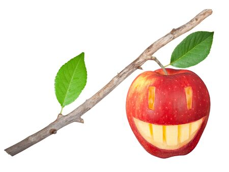 uneatable: Dry branch with apple smile
