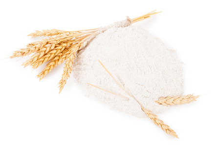 spikelets: Heap of wheat flour with spikelets