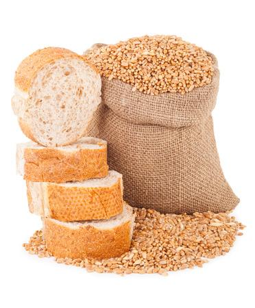 bolsa de pan: Bag with grain and bread Foto de archivo
