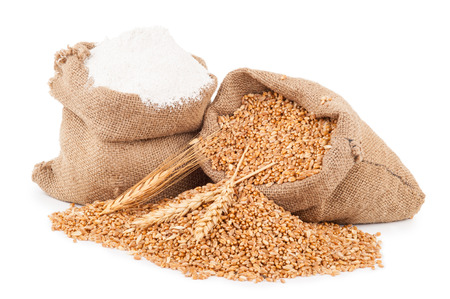 wheat grain: Flour and wheat grain Stock Photo