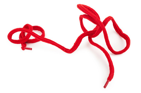Red shoelace Stock Photo