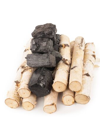 Birch firewood with coal