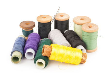 old items: Spools of thread with needle